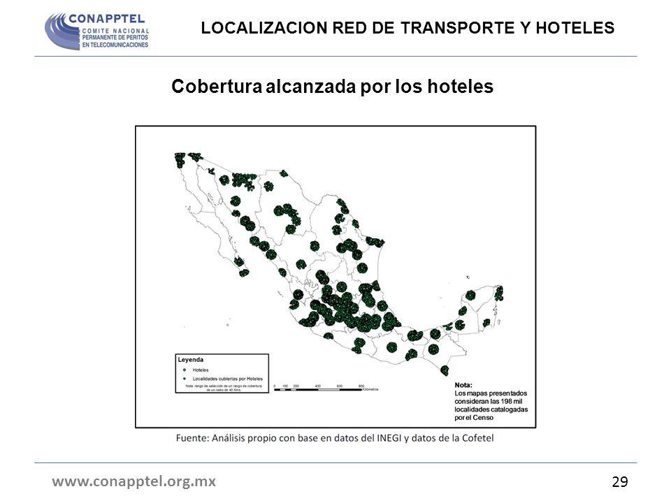 Cobertura alcanzada por los hoteles www.conapptel.org.mx 29 LOCALIZACION RED DE TRANSPORTE Y HOTELES