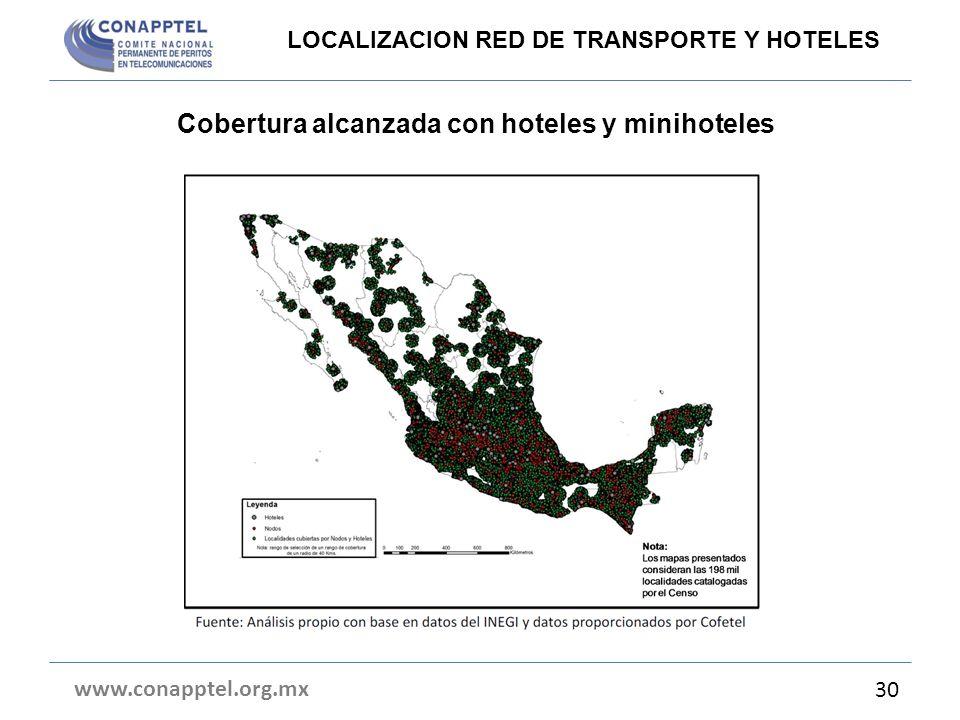 Cobertura alcanzada con hoteles y minihoteles www.conapptel.org.mx 30 LOCALIZACION RED DE TRANSPORTE Y HOTELES
