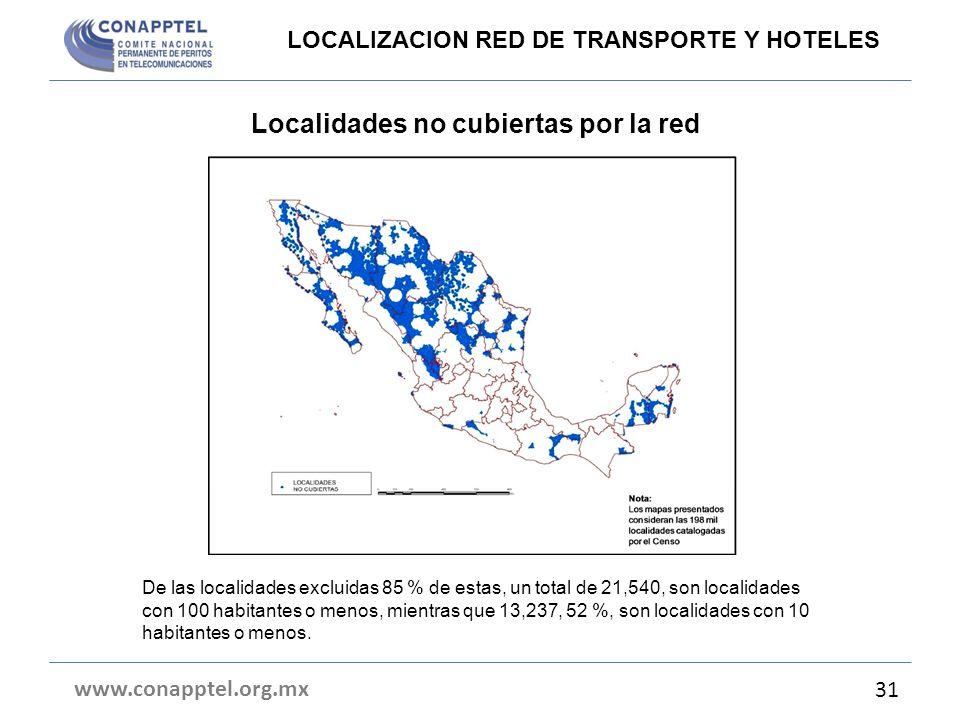 Localidades no cubiertas por la red www.conapptel.org.mx 31 LOCALIZACION RED DE TRANSPORTE Y HOTELES De las localidades excluidas 85 % de estas, un to