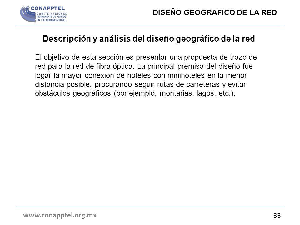 Descripción y análisis del diseño geográfico de la red El objetivo de esta sección es presentar una propuesta de trazo de red para la red de fibra ópt