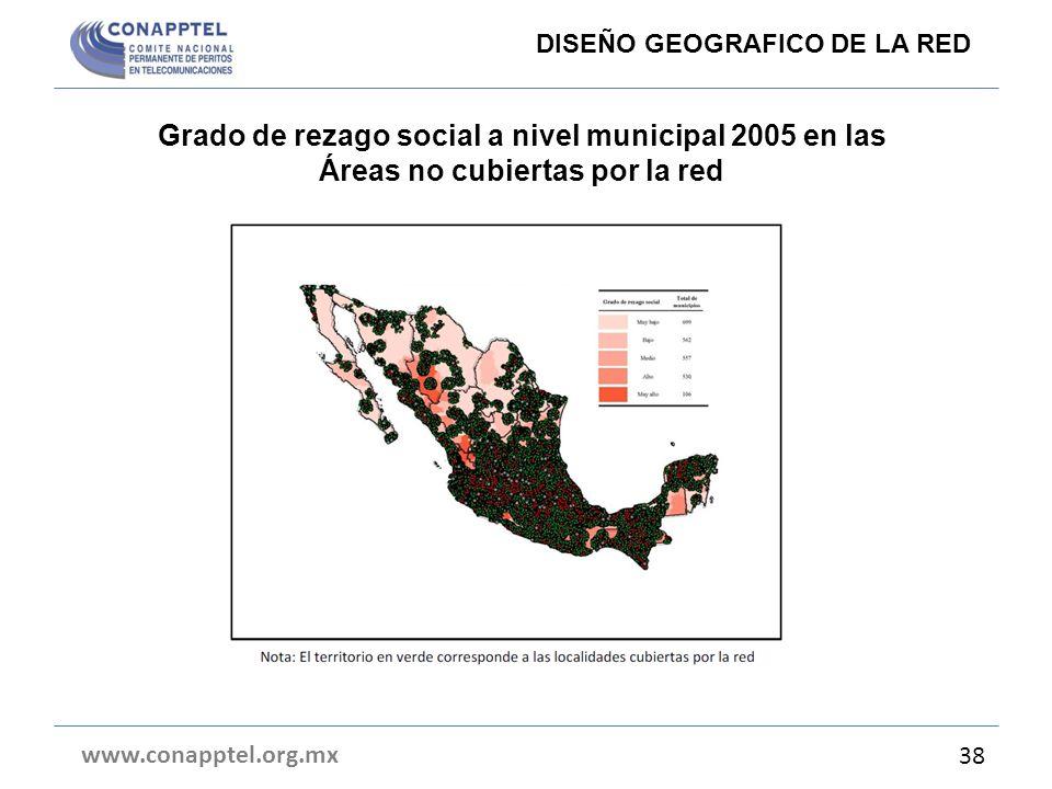 Grado de rezago social a nivel municipal 2005 en las Áreas no cubiertas por la red www.conapptel.org.mx 38 DISEÑO GEOGRAFICO DE LA RED