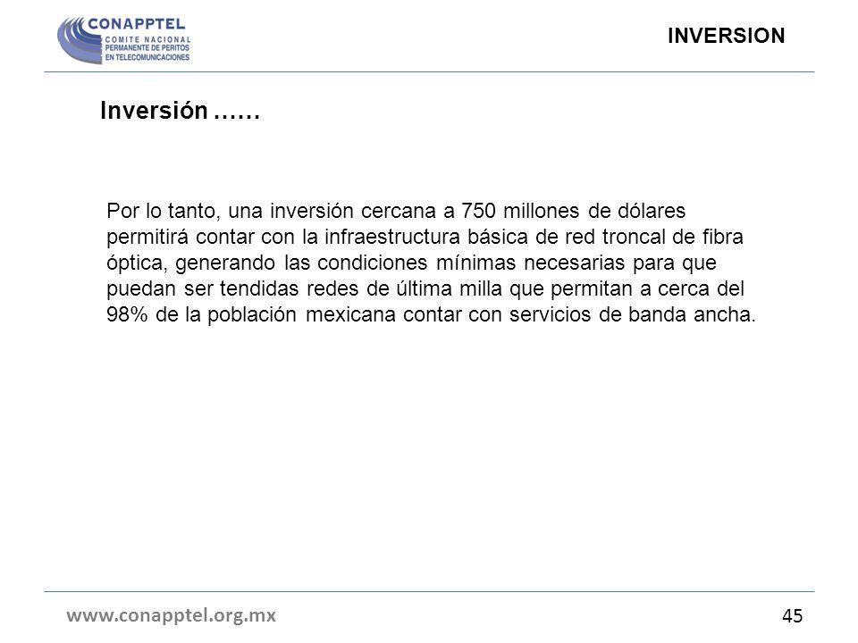 Inversión …… www.conapptel.org.mx 45 INVERSION Por lo tanto, una inversión cercana a 750 millones de dólares permitirá contar con la infraestructura b