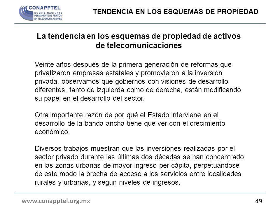 La tendencia en los esquemas de propiedad de activos de telecomunicaciones www.conapptel.org.mx 49 TENDENCIA EN LOS ESQUEMAS DE PROPIEDAD Veinte años