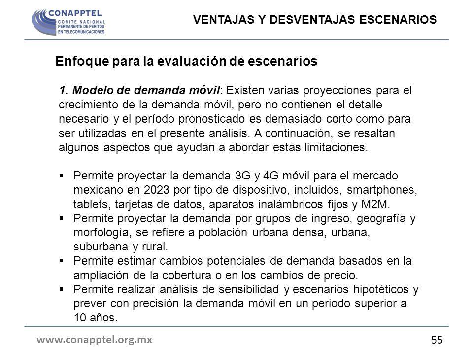 Enfoque para la evaluación de escenarios www.conapptel.org.mx 55 VENTAJAS Y DESVENTAJAS ESCENARIOS 1. Modelo de demanda móvil: Existen varias proyecci