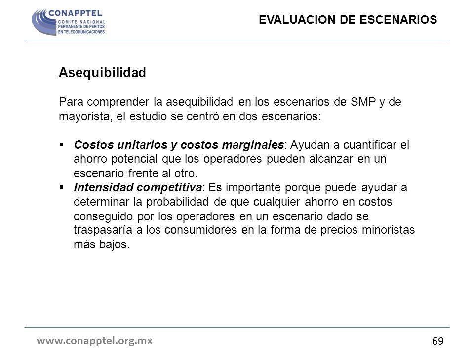 www.conapptel.org.mx 69 EVALUACION DE ESCENARIOS Asequibilidad Para comprender la asequibilidad en los escenarios de SMP y de mayorista, el estudio se