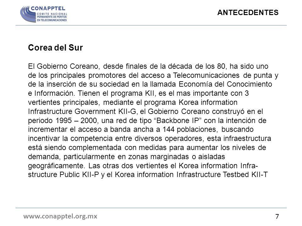 Corea del Sur El Gobierno Coreano, desde finales de la década de los 80, ha sido uno de los principales promotores del acceso a Telecomunicaciones de