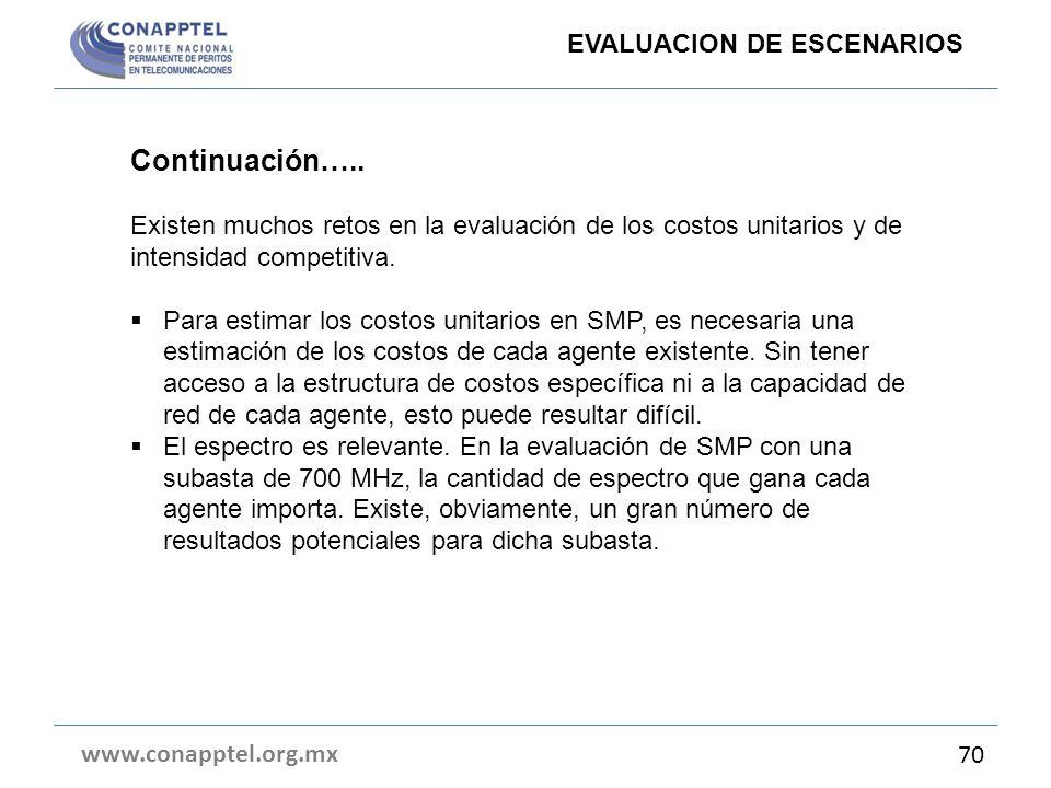 www.conapptel.org.mx 70 Continuación….. Existen muchos retos en la evaluación de los costos unitarios y de intensidad competitiva. Para estimar los co