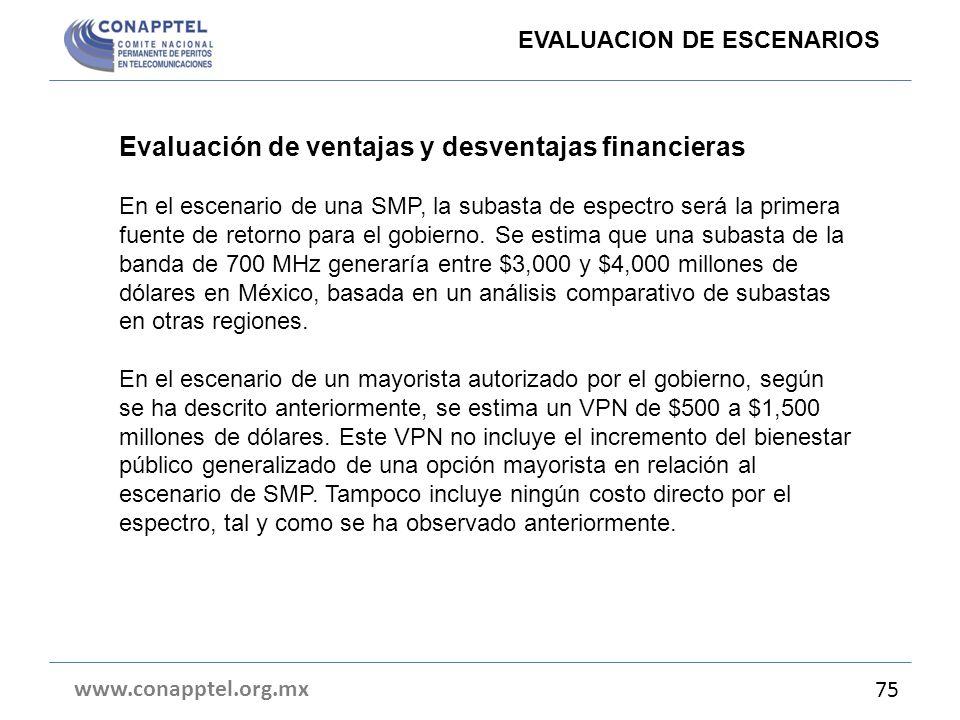 www.conapptel.org.mx 75 Evaluación de ventajas y desventajas financieras En el escenario de una SMP, la subasta de espectro será la primera fuente de