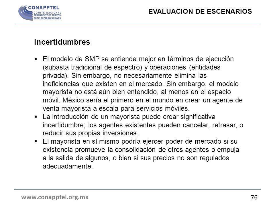 www.conapptel.org.mx 76 Incertidumbres El modelo de SMP se entiende mejor en términos de ejecución (subasta tradicional de espectro) y operaciones (en