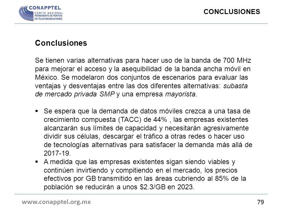 www.conapptel.org.mx 79 Conclusiones Se tienen varias alternativas para hacer uso de la banda de 700 MHz para mejorar el acceso y la asequibilidad de