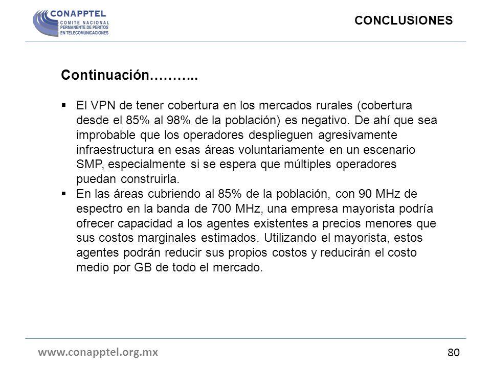 www.conapptel.org.mx 80 Continuación……….. El VPN de tener cobertura en los mercados rurales (cobertura desde el 85% al 98% de la población) es negativ