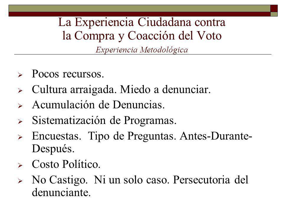 La Experiencia Ciudadana contra la Compra y Coacción del Voto Experiencia Metodológica Pocos recursos.