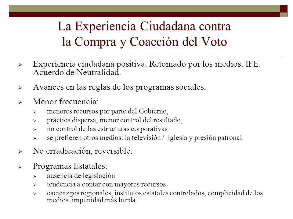 La Experiencia Ciudadana contra la Compra y Coacción del Voto Experiencia ciudadana positiva. Retomado por los medios. IFE. Acuerdo de Neutralidad. Av