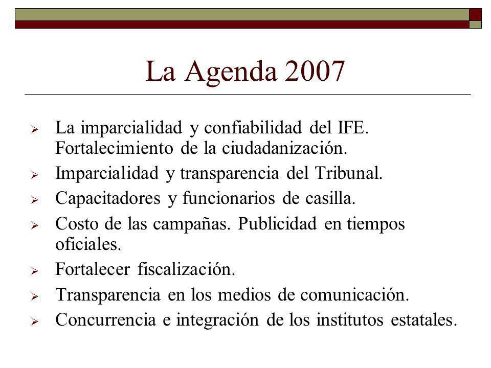 La Agenda 2007 La imparcialidad y confiabilidad del IFE. Fortalecimiento de la ciudadanización. Imparcialidad y transparencia del Tribunal. Capacitado