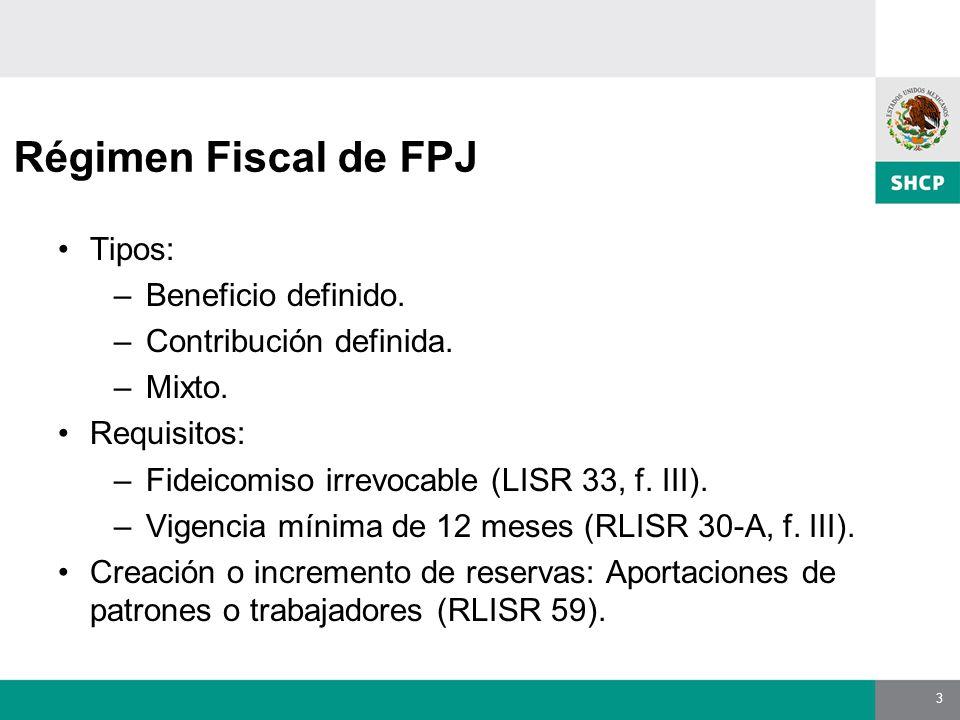 3 Régimen Fiscal de FPJ Tipos: –Beneficio definido.