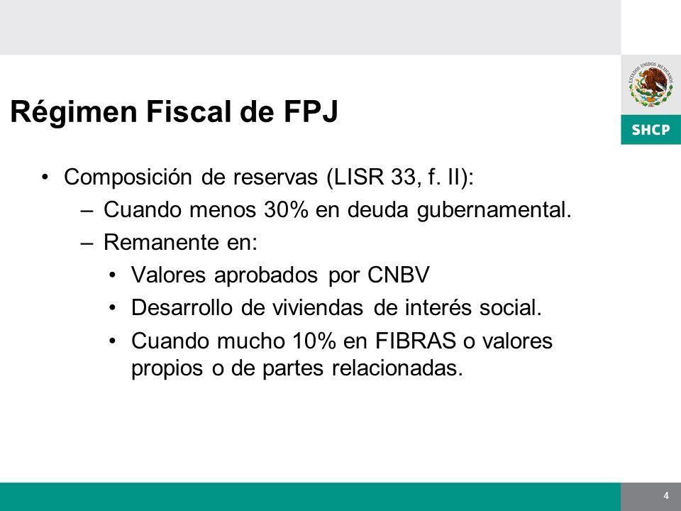 4 Régimen Fiscal de FPJ Composición de reservas (LISR 33, f.