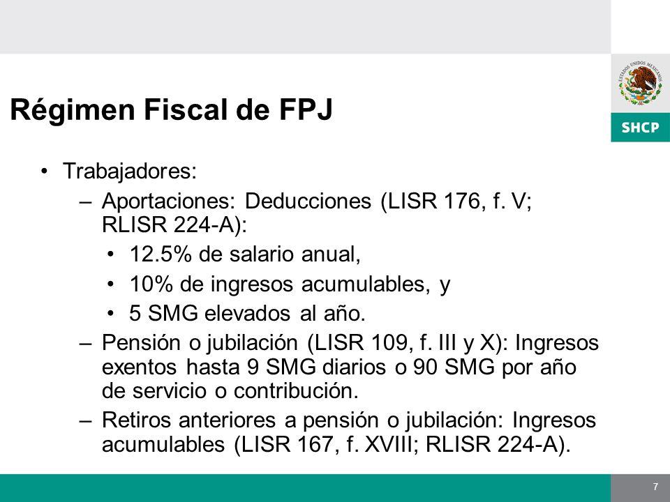 7 Régimen Fiscal de FPJ Trabajadores: –Aportaciones: Deducciones (LISR 176, f.