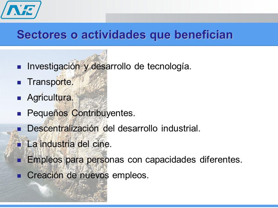 Sectores o actividades que benefician Investigación y desarrollo de tecnología. Transporte. Agricultura. Pequeños Contribuyentes. Descentralización de