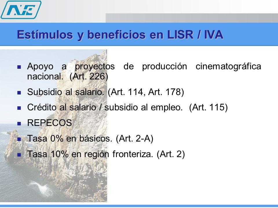 Apoyo a proyectos de producción cinematográfica nacional. (Art. 226) Subsidio al salario. (Art. 114, Art. 178) Crédito al salario / subsidio al empleo