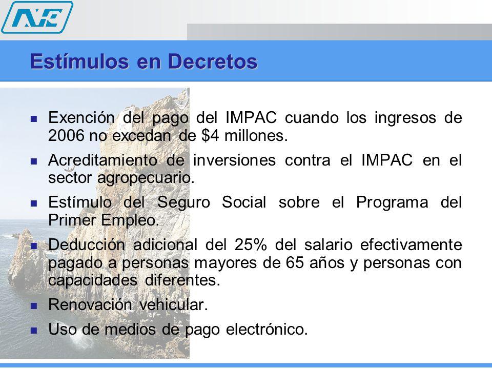 Estímulos en Decretos Exención del pago del IMPAC cuando los ingresos de 2006 no excedan de $4 millones. Acreditamiento de inversiones contra el IMPAC
