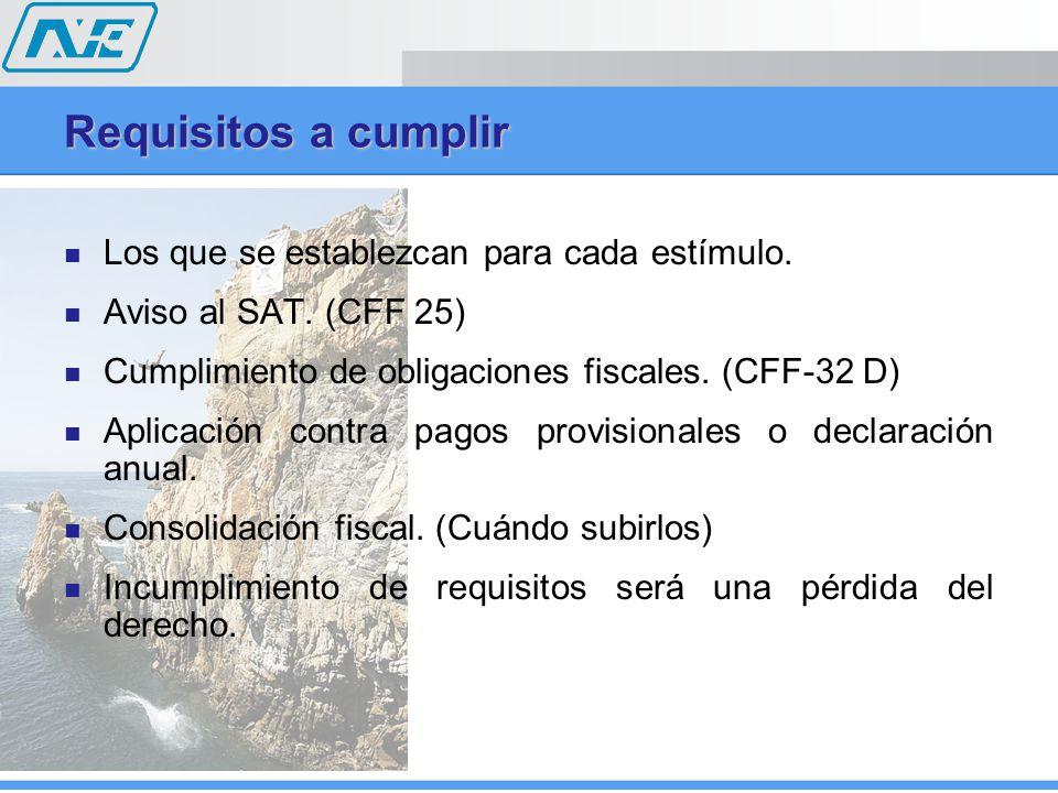 Requisitos a cumplir Los que se establezcan para cada estímulo.
