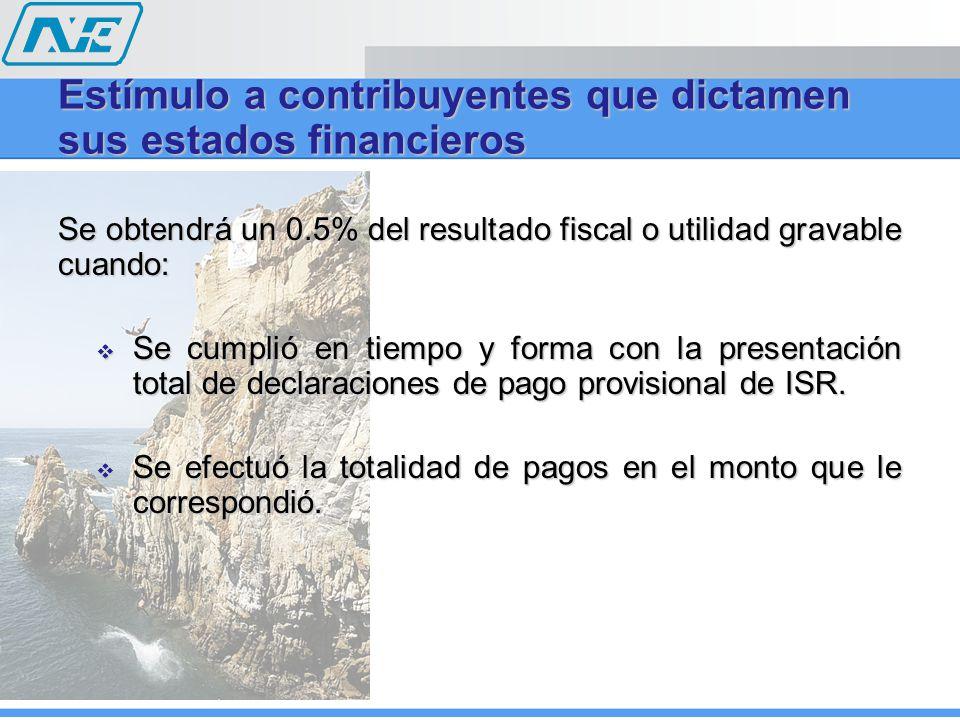 Se obtendrá un 0.5% del resultado fiscal o utilidad gravable cuando: Se cumplió en tiempo y forma con la presentación total de declaraciones de pago p