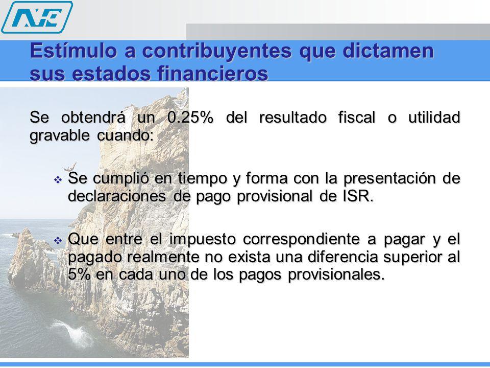 Se obtendrá un 0.25% del resultado fiscal o utilidad gravable cuando: Se cumplió en tiempo y forma con la presentación de declaraciones de pago provis