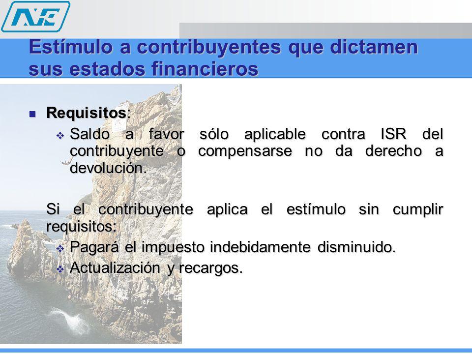 Requisitos: Requisitos: Saldo a favor sólo aplicable contra ISR del contribuyente o compensarse no da derecho a devolución. Saldo a favor sólo aplicab
