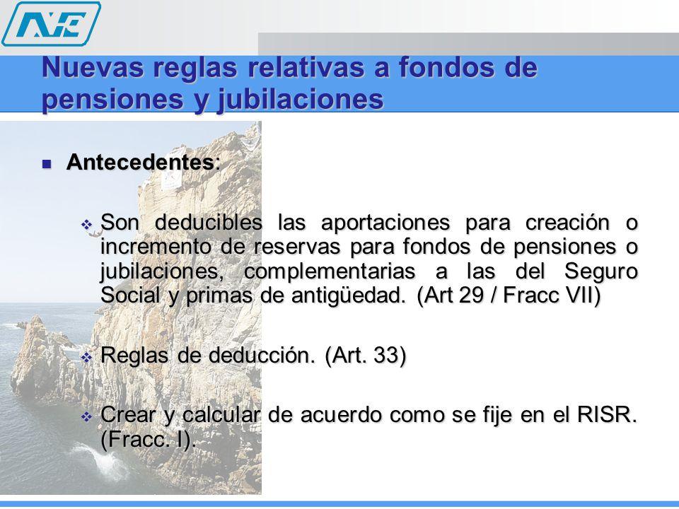 Nuevas reglas relativas a fondos de pensiones y jubilaciones Antecedentes: Antecedentes: Son deducibles las aportaciones para creación o incremento de