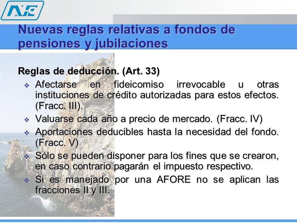 Reglas de deducción. (Art. 33) Afectarse en fideicomiso irrevocable u otras instituciones de crédito autorizadas para estos efectos. (Fracc. III). Afe