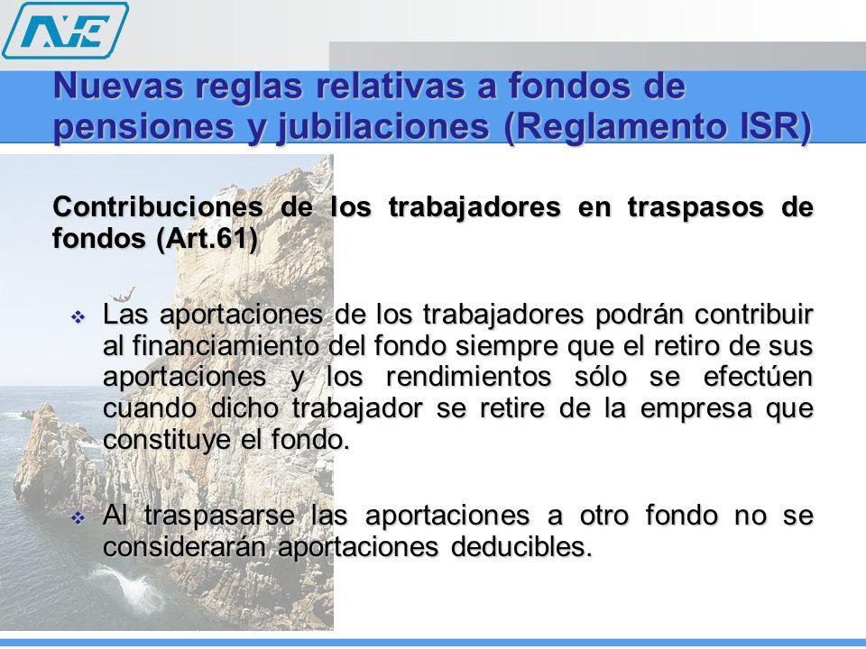 Contribuciones de los trabajadores en traspasos de fondos (Art.61) Las aportaciones de los trabajadores podrán contribuir al financiamiento del fondo