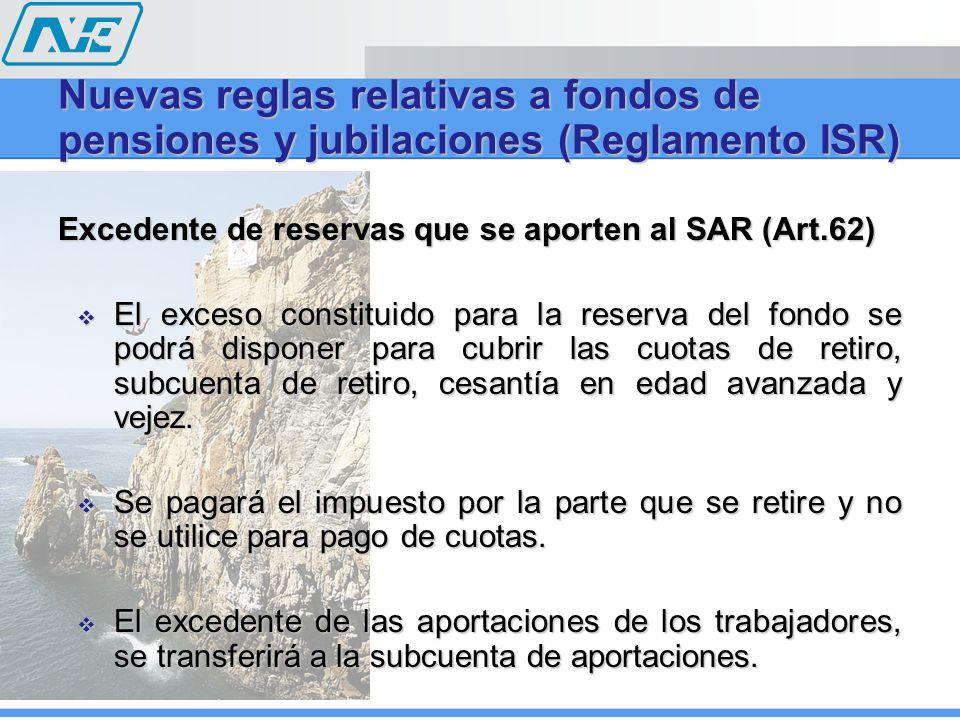 Excedente de reservas que se aporten al SAR (Art.62) El exceso constituido para la reserva del fondo se podrá disponer para cubrir las cuotas de retiro, subcuenta de retiro, cesantía en edad avanzada y vejez.