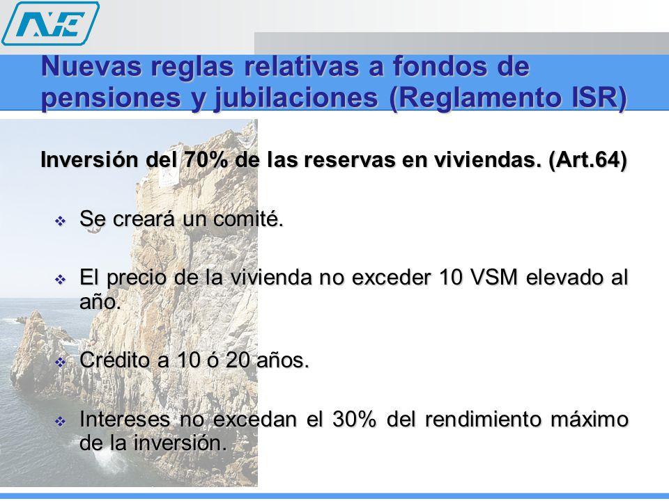 Inversión del 70% de las reservas en viviendas.(Art.64) Se creará un comité.