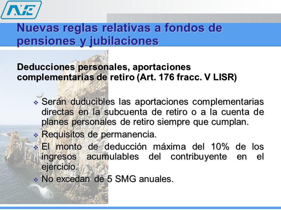 Deducciones personales, aportaciones complementarias de retiro (Art. 176 fracc. V LISR) Serán duducibles las aportaciones complementarias directas en