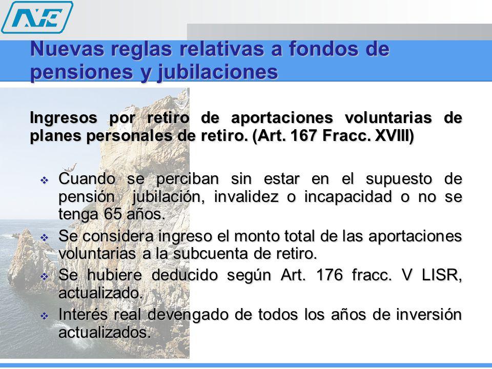 Ingresos por retiro de aportaciones voluntarias de planes personales de retiro. (Art. 167 Fracc. XVIII) Cuando se perciban sin estar en el supuesto de
