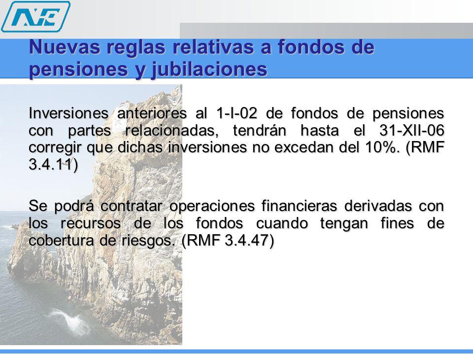 Inversiones anteriores al 1-I-02 de fondos de pensiones con partes relacionadas, tendrán hasta el 31-XII-06 corregir que dichas inversiones no excedan del 10%.