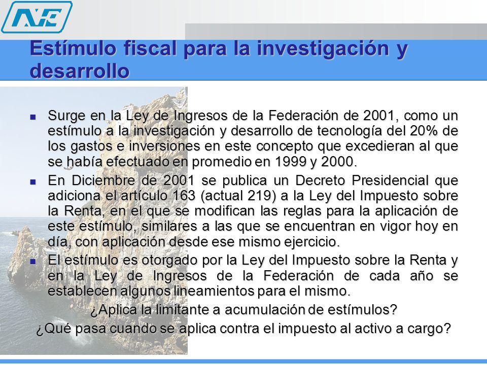 Estímulo fiscal para la investigación y desarrollo Surge en la Ley de Ingresos de la Federación de 2001, como un estímulo a la investigación y desarrollo de tecnología del 20% de los gastos e inversiones en este concepto que excedieran al que se había efectuado en promedio en 1999 y 2000.