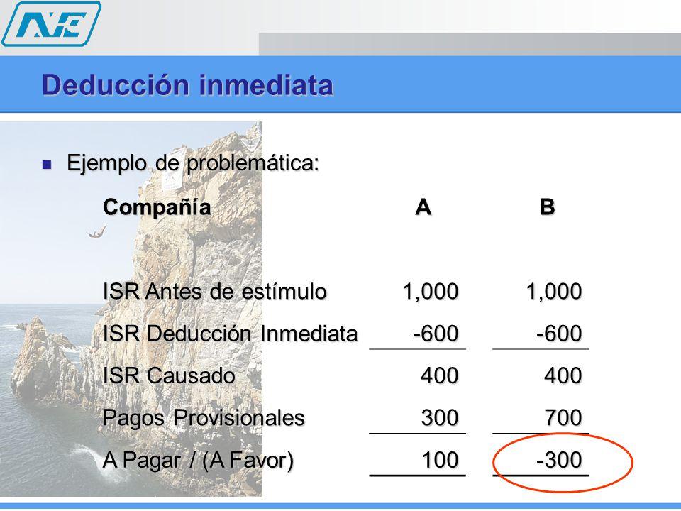 Ejemplo de problemática: Ejemplo de problemática: Deducción inmediata Compañía A B ISR Antes de estímulo 1,0001,000 ISR Deducción Inmediata -600-600 ISR Causado 400400 Pagos Provisionales 300700 A Pagar / (A Favor) 100-300