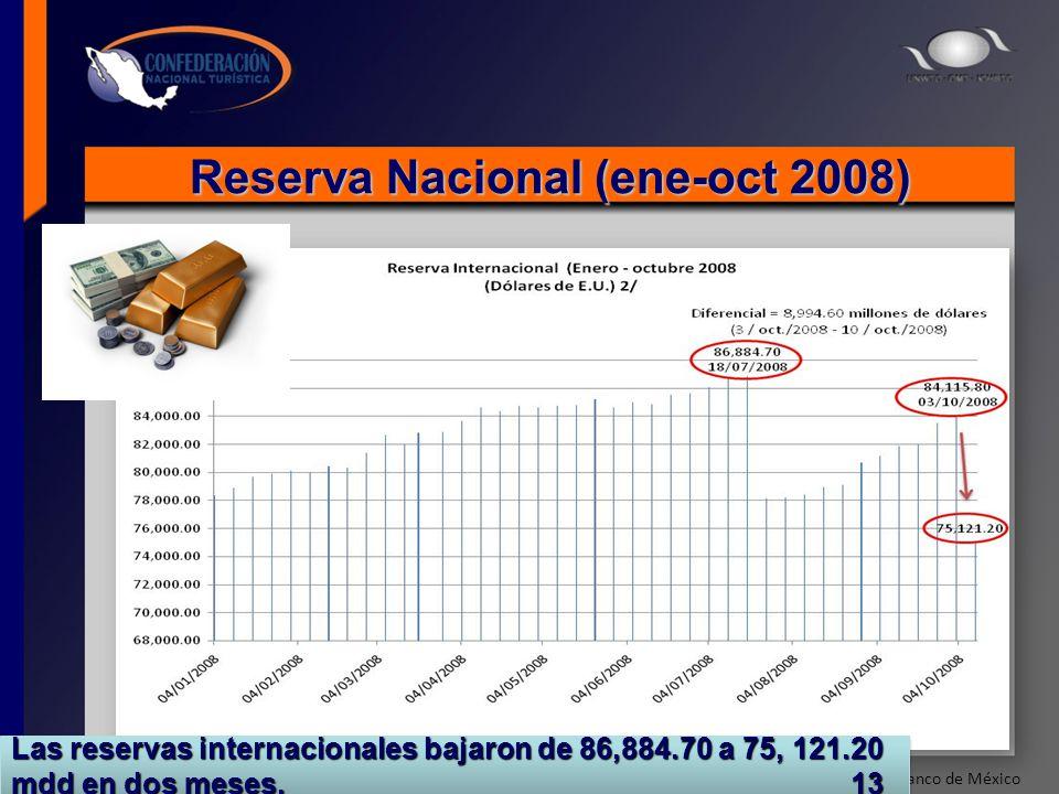 Reserva Nacional (ene-oct 2008) Fuente: Banco de México Las reservas internacionales bajaron de 86,884.70 a 75, 121.20 mdd en dos meses. 13