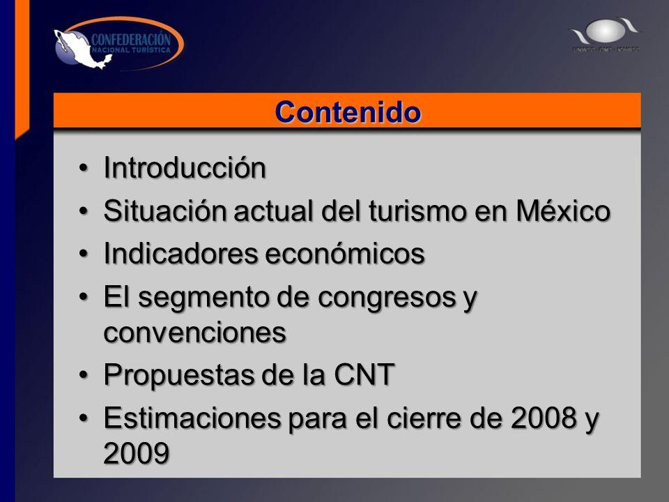 Contenido IntroducciónIntroducción Situación actual del turismo en MéxicoSituación actual del turismo en México Indicadores económicosIndicadores econ
