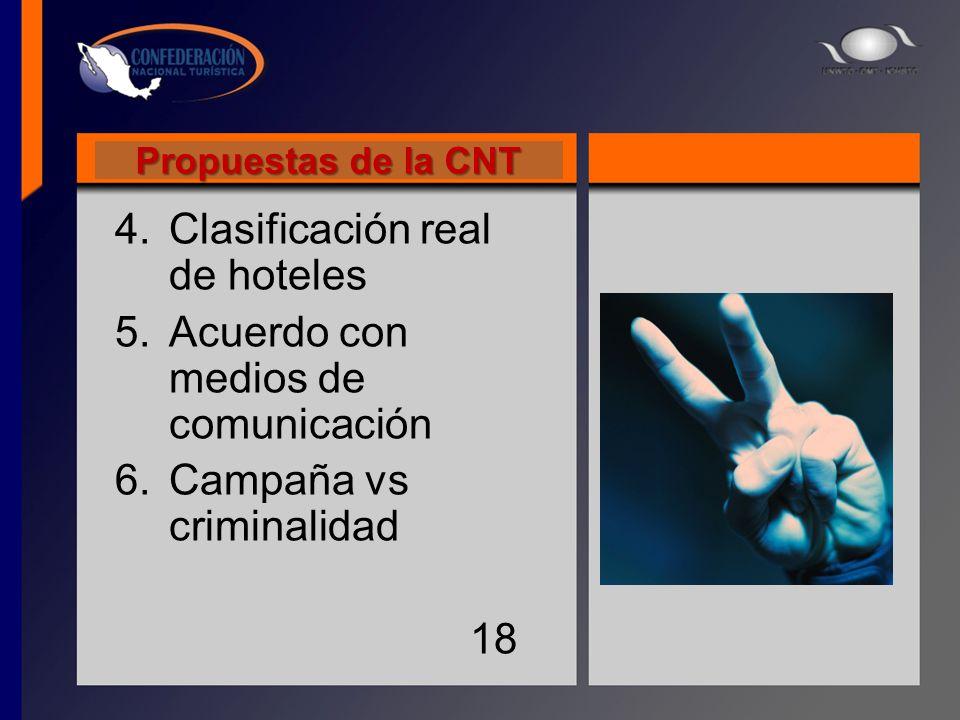 Propuestas de la CNT 4.Clasificación real de hoteles 5.Acuerdo con medios de comunicación 6.Campaña vs criminalidad 18