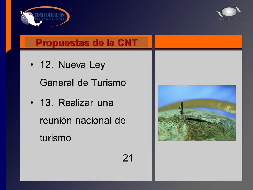 Propuestas de la CNT 12. Nueva Ley General de Turismo 13. Realizar una reunión nacional de turismo 21
