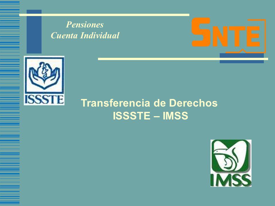 Transferencia de Derechos ISSSTE – IMSS Pensiones Cuenta Individual