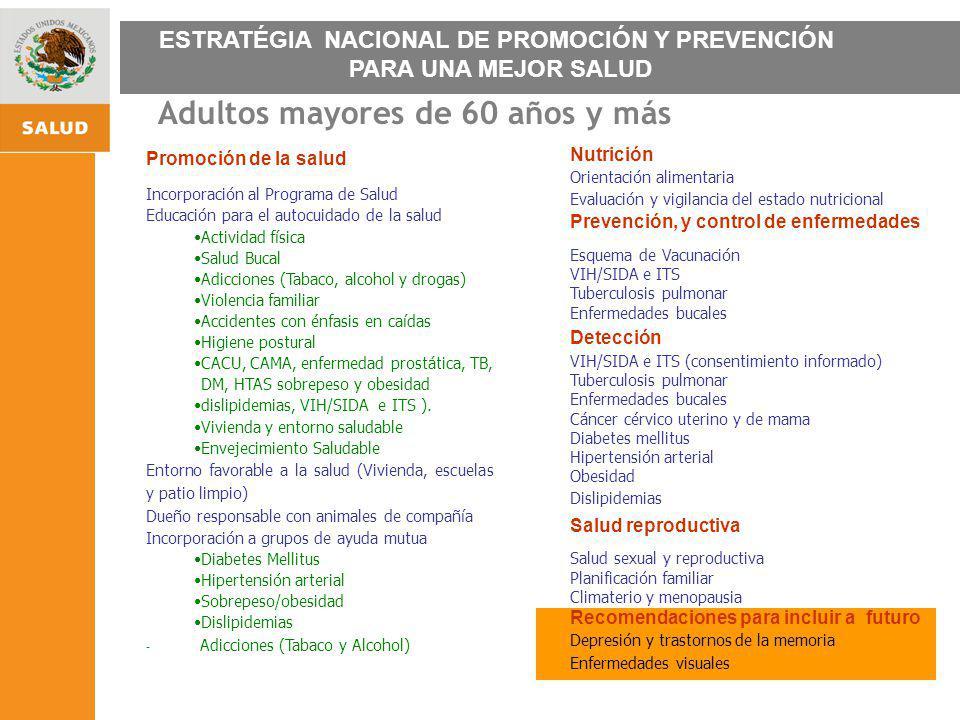 ESTRATEGIA NACIONAL DE PROMOCIÓN Y PREVENCIÓN PARA UNA MEJOR SALUD Adultos mayores de 60 años y más Promoción de la salud Incorporación al Programa de