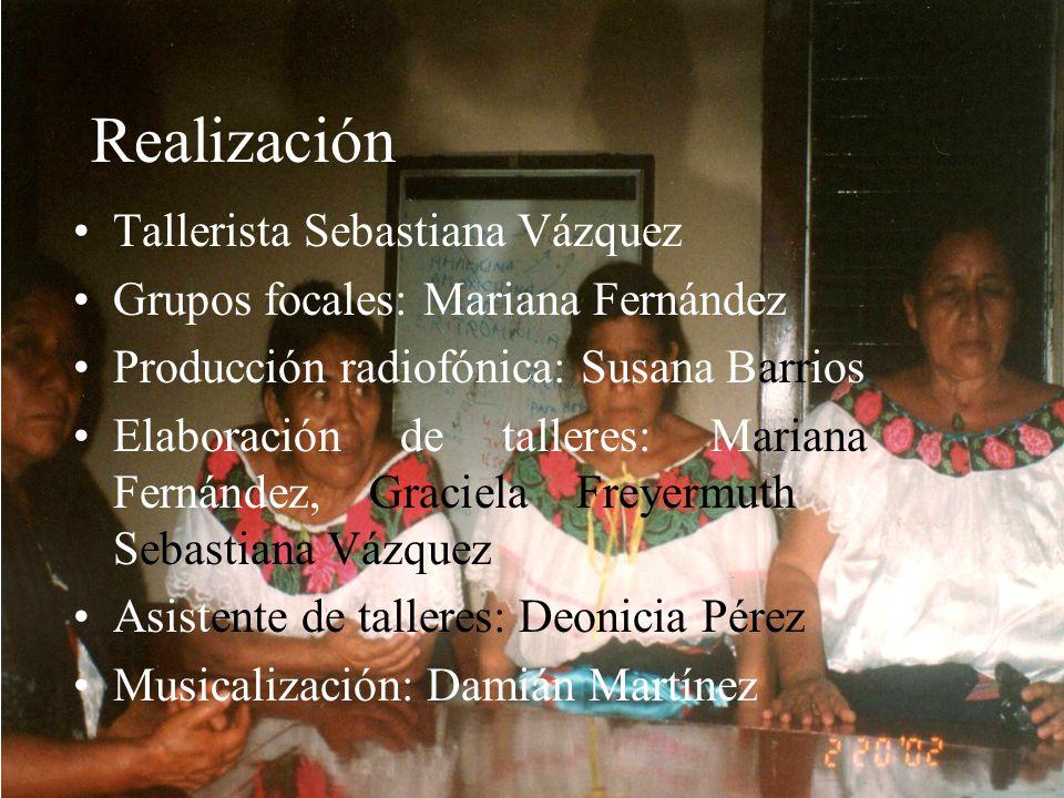 Realización Tallerista Sebastiana Vázquez Grupos focales: Mariana Fernández Producción radiofónica: Susana Barrios Elaboración de talleres: Mariana Fe