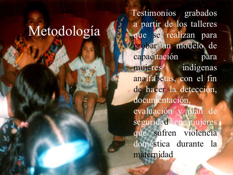 Metodología Testimonios grabados a partir de los talleres que se realizan para probar un modelo de capacitación para mujeres indígenas analfabetas, co
