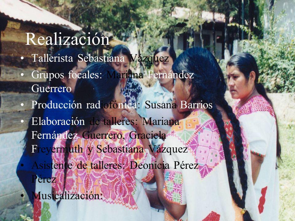 Realización Tallerista Sebastiana Vázquez Grupos focales: Mariana Fernández Guerrero Producción radiofónica: Susana Barrios Elaboración de talleres: M