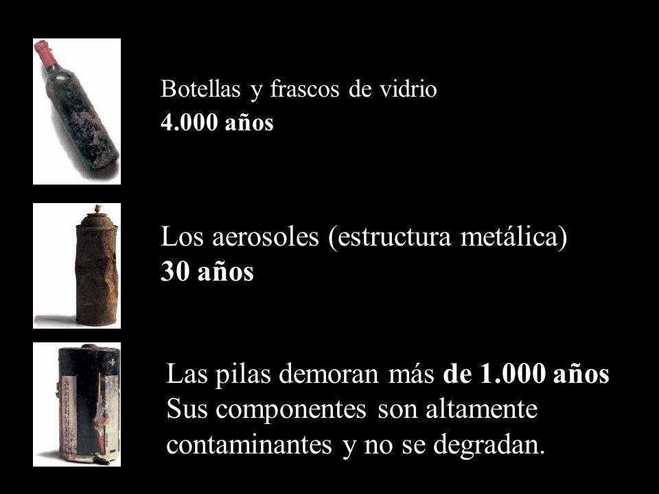Colilla de cigarrillos de 1 a 2 años Encendedores de acero y plástico 100 años. Disketes ( plástico y metal ) 100 a 1.000 años Envases tetra-brik (cel