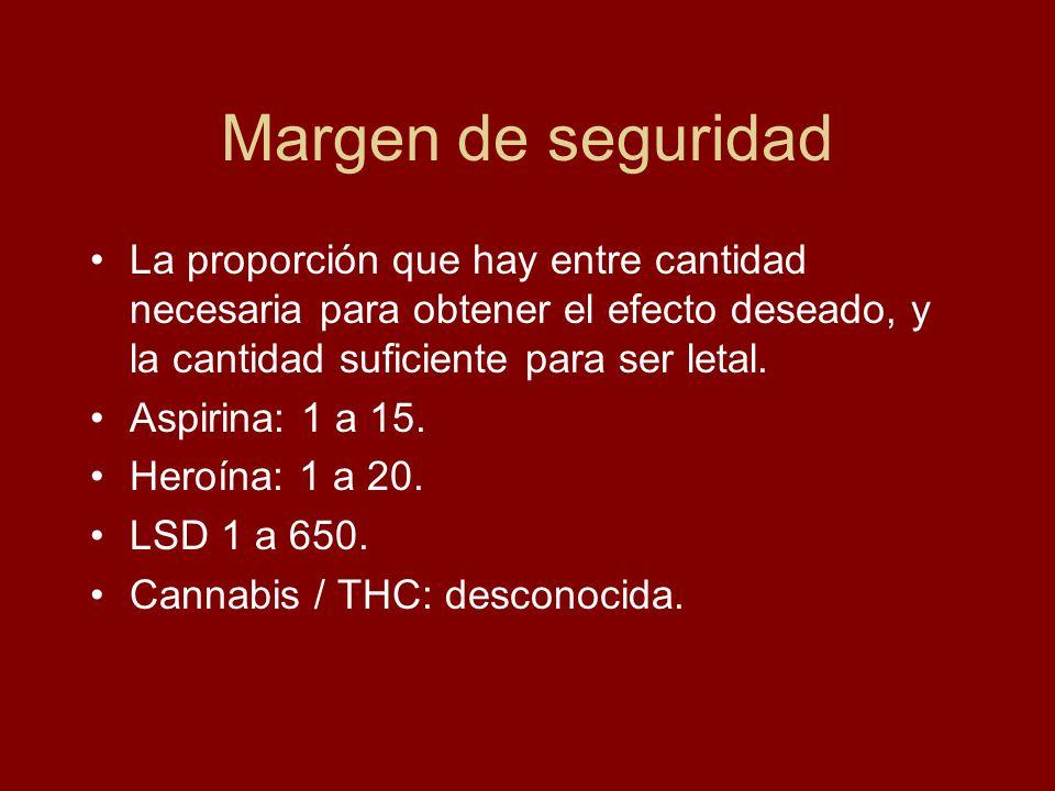 Margen de seguridad La proporción que hay entre cantidad necesaria para obtener el efecto deseado, y la cantidad suficiente para ser letal. Aspirina: