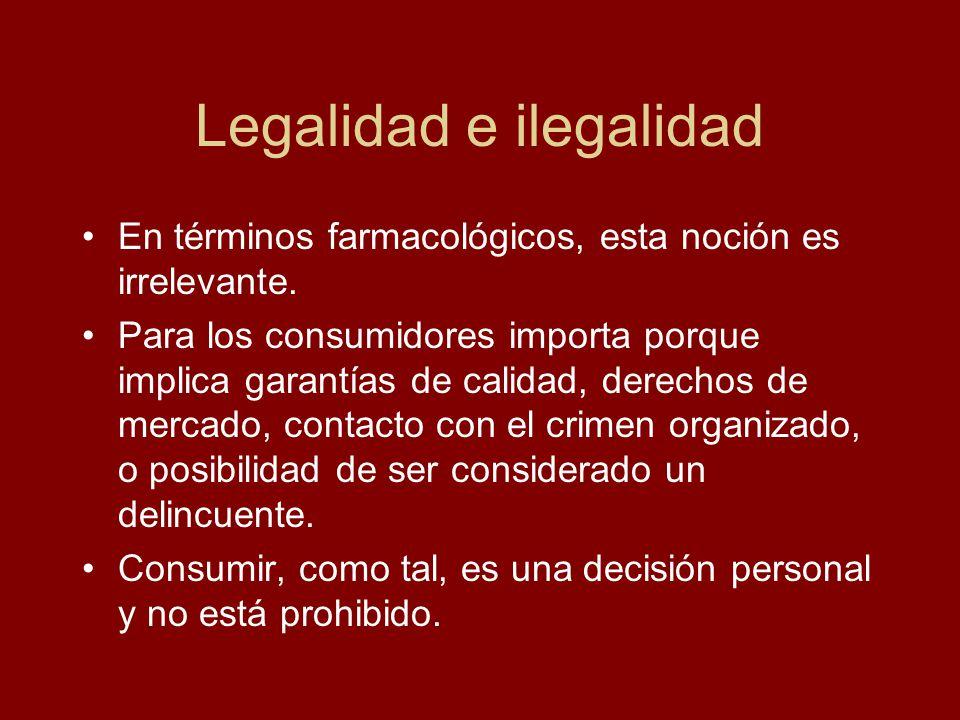 Legalidad e ilegalidad En términos farmacológicos, esta noción es irrelevante. Para los consumidores importa porque implica garantías de calidad, dere